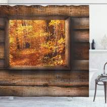 """Ambesonne Fall Shower Curtain, Fall Foliage View from Square Shaped Wooden Window Inside Cottage Rustic Life Photo, Cloth Fabric Bathroom Decor Set with Hooks, 84"""" Long Extra, Orange Brown"""