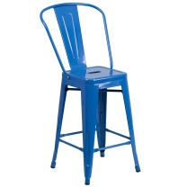 """Flash Furniture Commercial Grade 24"""" High Blue Metal Indoor-Outdoor Counter Height Stool with Removable Back"""