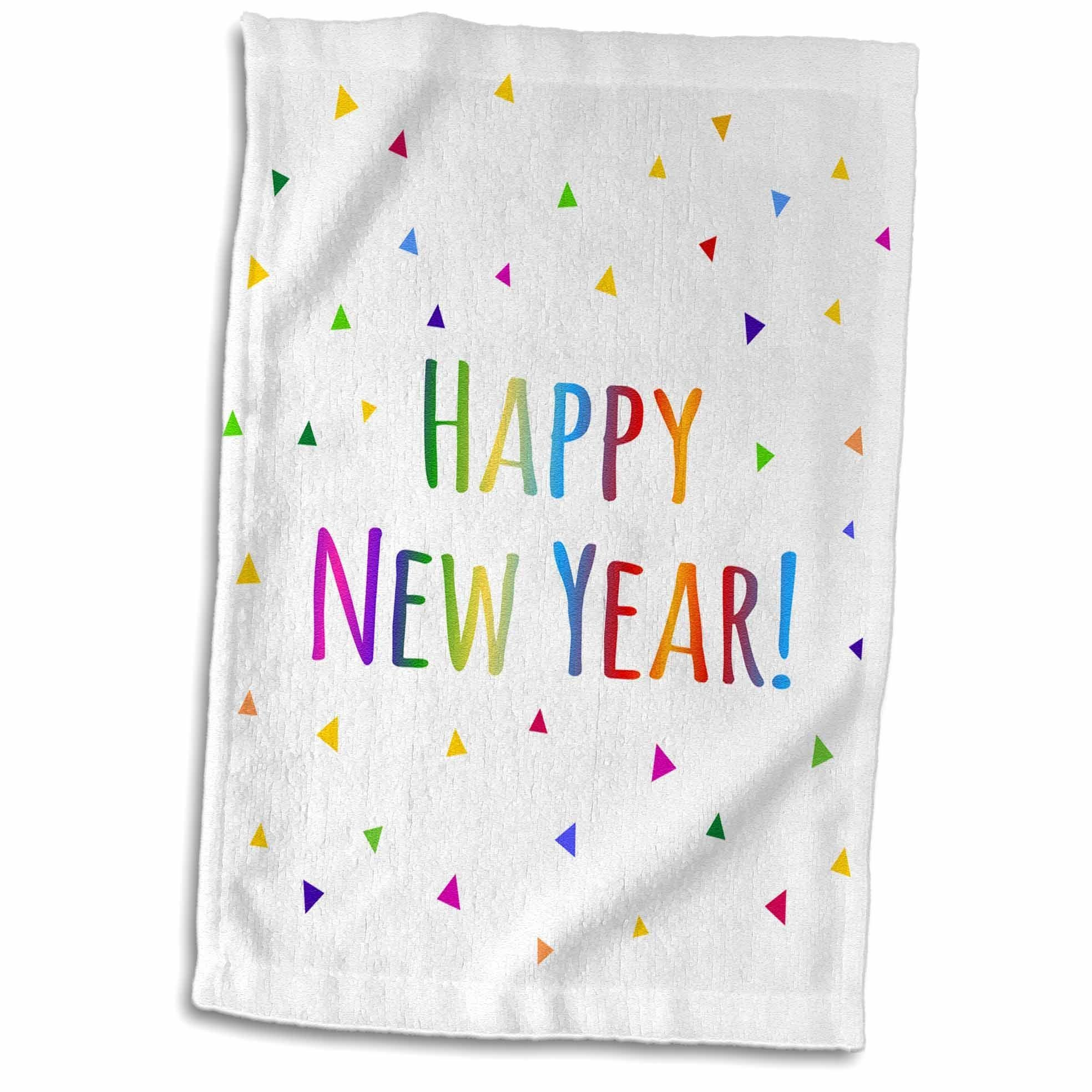 """3D Rose Happy New Year Colorful Rainbow Text and Multicolor Confetti Triangles TWL_202093_1 Towel, 15"""" x 22"""""""