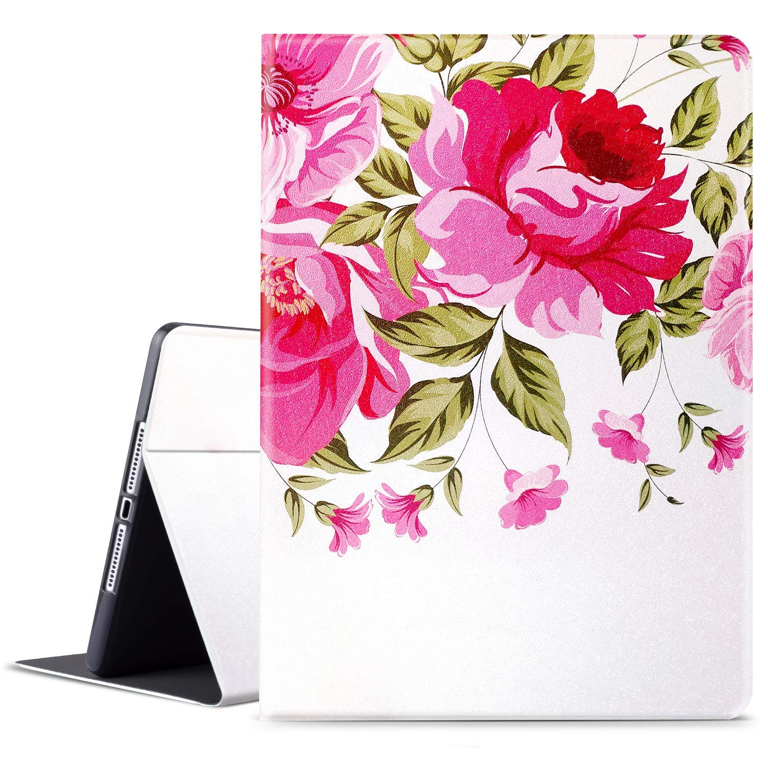HBorna New iPad 10.2 Case (2019 iPad 7th Generation), Adjustable Stand Folio Cover with Auto Sleep/Wake Function, 10.2 inch Case for Apple iPad 7th Gen, Red Floral