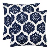 HWY 50 Embroidered Decorative Throw Pillow Covers Set Cushion Cases for Couch Sofa Living Room Deep Blue 18 x 18 inch Simple Geometric Floral Pack of 2