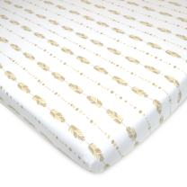 American Baby Company Printed 100% Natural Cotton Jersey Knit Fitted Portable/Mini-Crib Sheet, Taupe Feathers, Soft Breathable, for Boys and Girls, Pack of 1