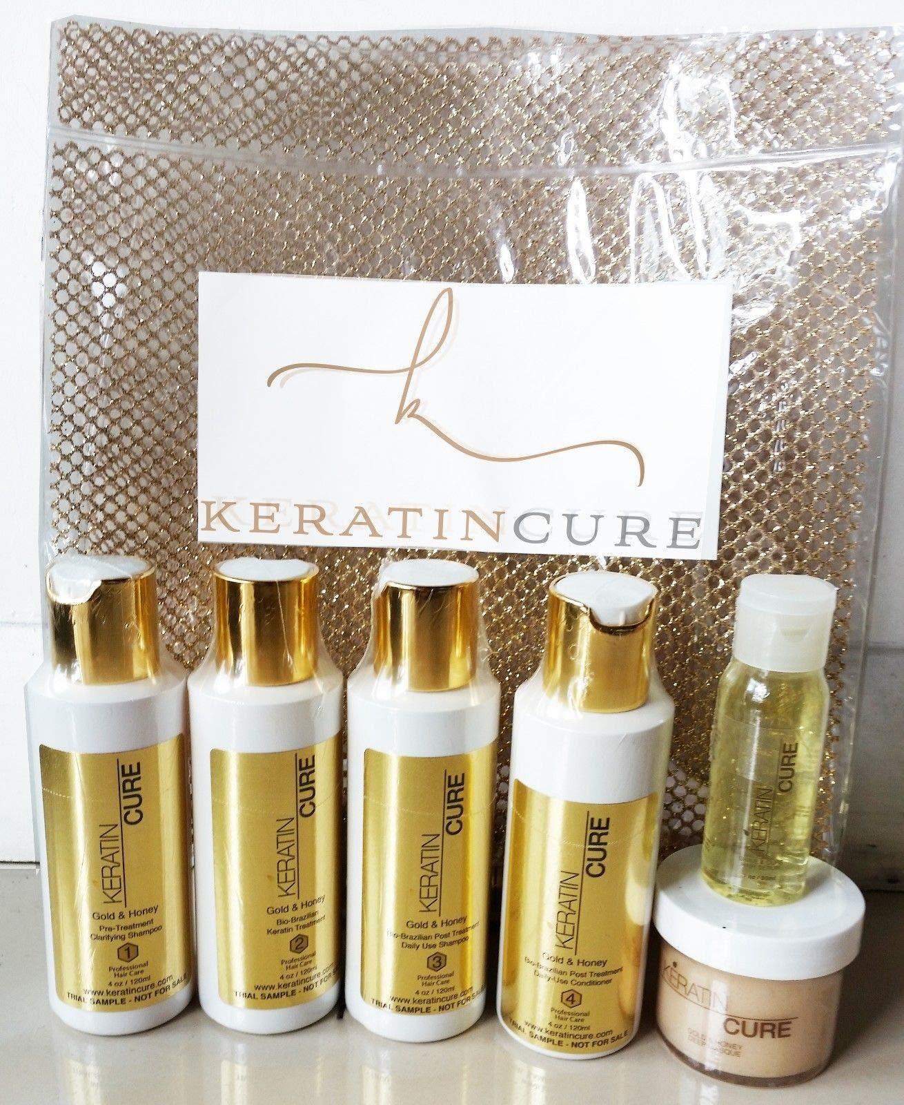 Keratin Cure Best Treatment Gold and Honey Bio Protein Silky Soft Formaldehyde Free Complex with Argan Oil Nourishing Straightening Damaged Dry Frizzy Kit 4 Kids, Men, Women Promo Kit 4 oz