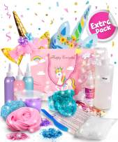 Original Stationery Party Favors for Kids Birthday Party Favor Bags for Girls with Complete Unicorn Slime Kit - Goodie Bag Fillers Headband, Masks, Stickers, Charms (15 pcs)