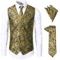 JOGAL Men's 3pc Paisley Vest Necktie Pocket Square Set for Suit or Tuxedo