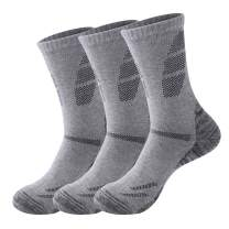 3 Pairs Hiking Socks For Men,Cushion Moisture Wicking Athletic Grey Crew Socks for Outdoor Sports Fit Size 10-14