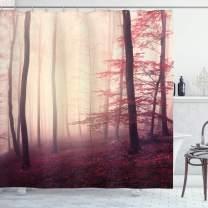 "Ambesonne Woodland Shower Curtain, Fantasy Marsala Color Foggy Forest Jungle Dreamy Wilderness Woods Sunlight, Cloth Fabric Bathroom Decor Set with Hooks, 70"" Long, Burgundy Cream"