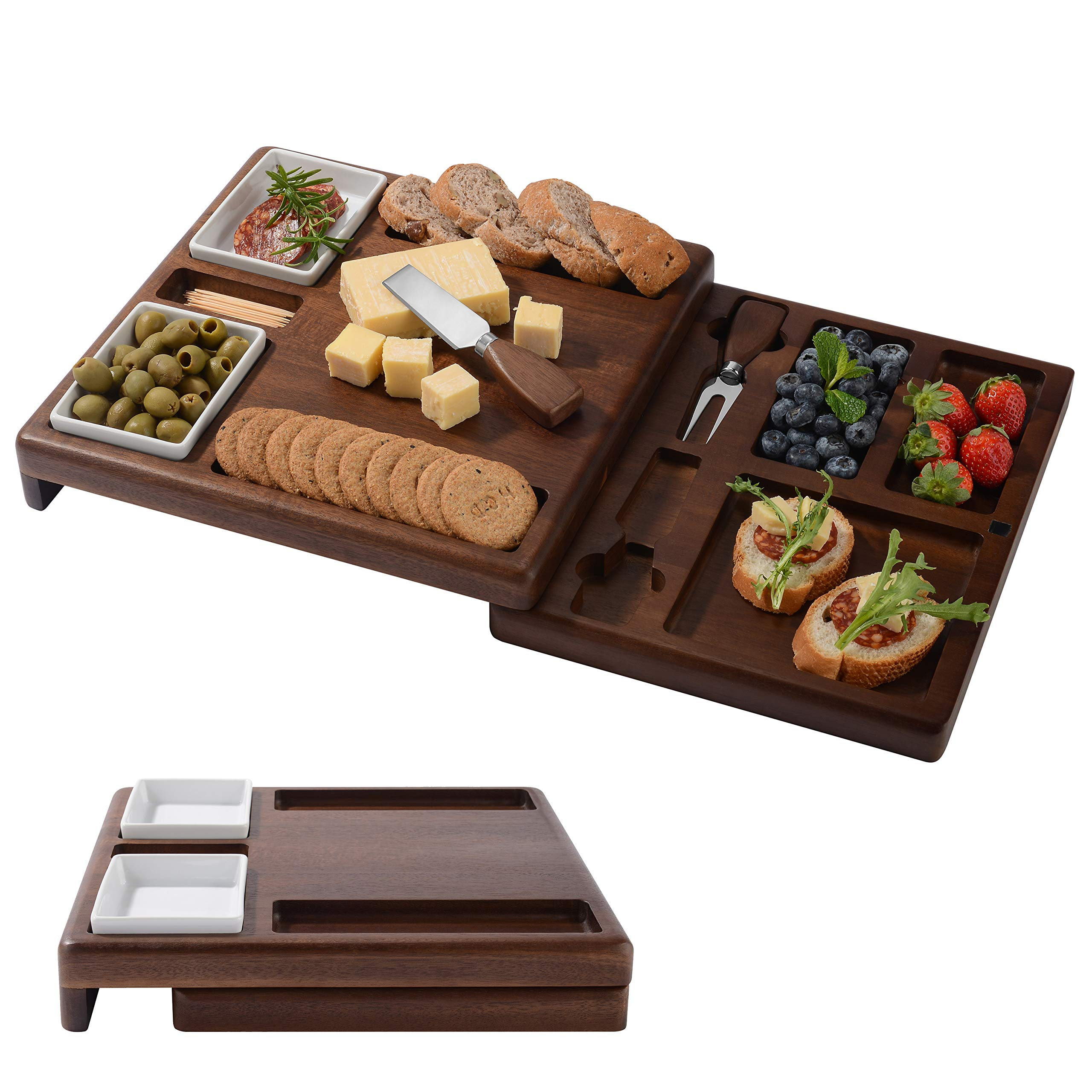 """Wooden Serving Board for Cheese, Food Serving Platter, Cheese Board with Cutlery Set (13,88"""" x 19,88"""") Expandable Cheese Board And Use Base On Size Of Your Party"""