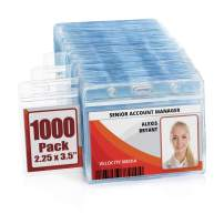 MIFFLIN Horizontal ID Name Badge Holder (Clear, 2.25x3.5 Inches, 1000 Pack), Waterproof and Resealable Plastic Card Holders