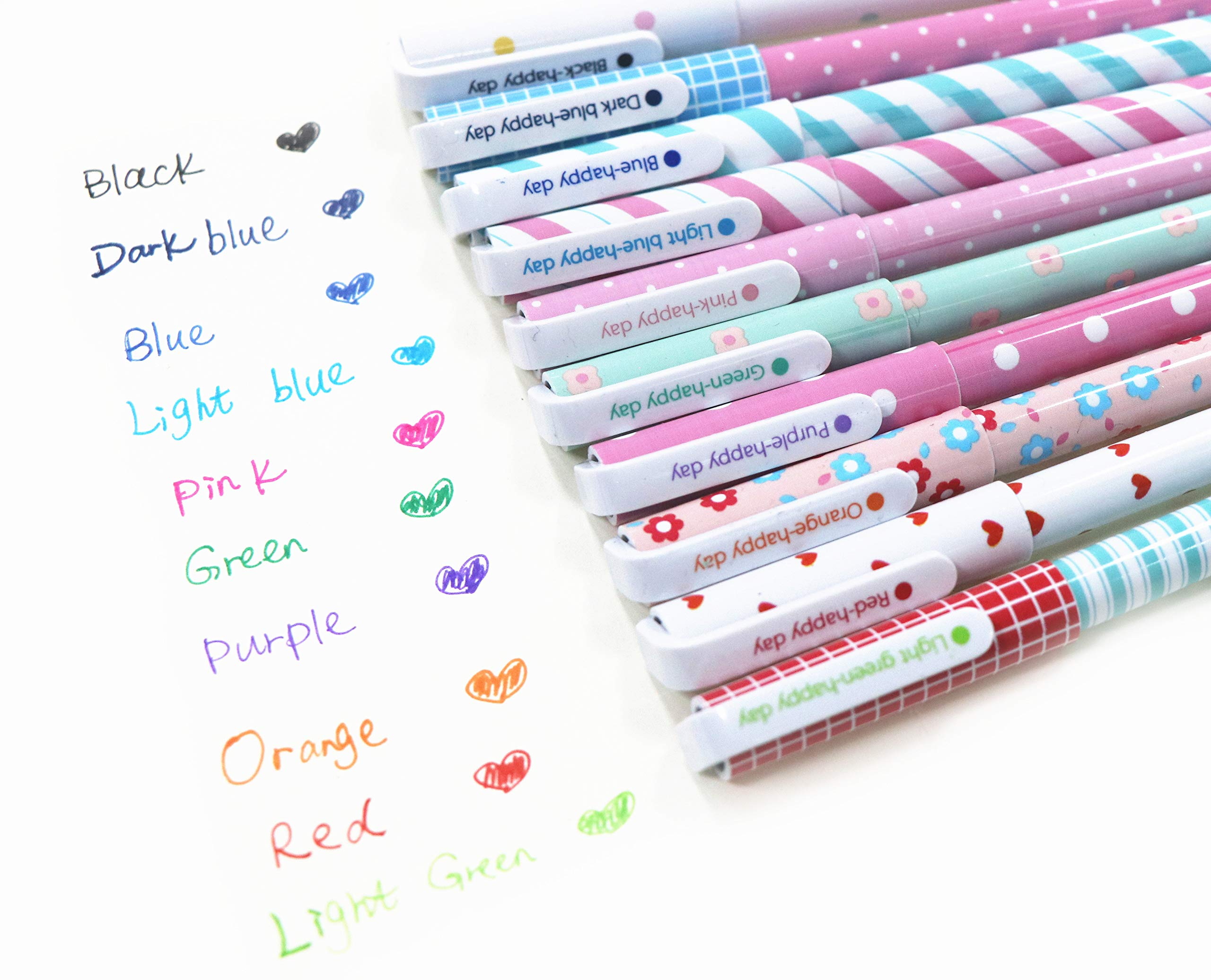 Cute Color Pens for Women Toshine Colorful Gel Ink Pens Multi Colored Pens for Bullet Journal Writing Roller Ball Fine Point Pens for Kids Girls Children Students Teens Gifts 10 Pcs (0.5 mm)