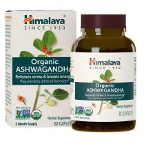 Himalaya Organic Ashwagandha 670 mg 60 Caplets, Equivalent to 4630mg of Ashwagandha Root Powder, 2 Month Supply of Anxiety Supplements for Anxiety Relief and Stress Relief