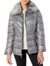 Kenneth Cole New York Women's Zip Front Puffer with Faux Fur Collar