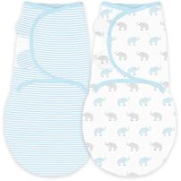 Amazing Baby Swaddle Blanket with Adjustable Wrap, Set of 2, Tiny Elephants and Stripes, Pastel Blue, Small