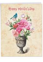 The Best Card Company - Big Mother's Day Card (8.5 x 11 Inch) - Beautiful Flowers, Floral Card for Mom - Blooming Urns J6585HMDG