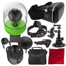 360Fly 4K VR Action Video Camera with 360fly VR Smartphone Headset, Stable Tripod, and Deluxe Accessory Bundle