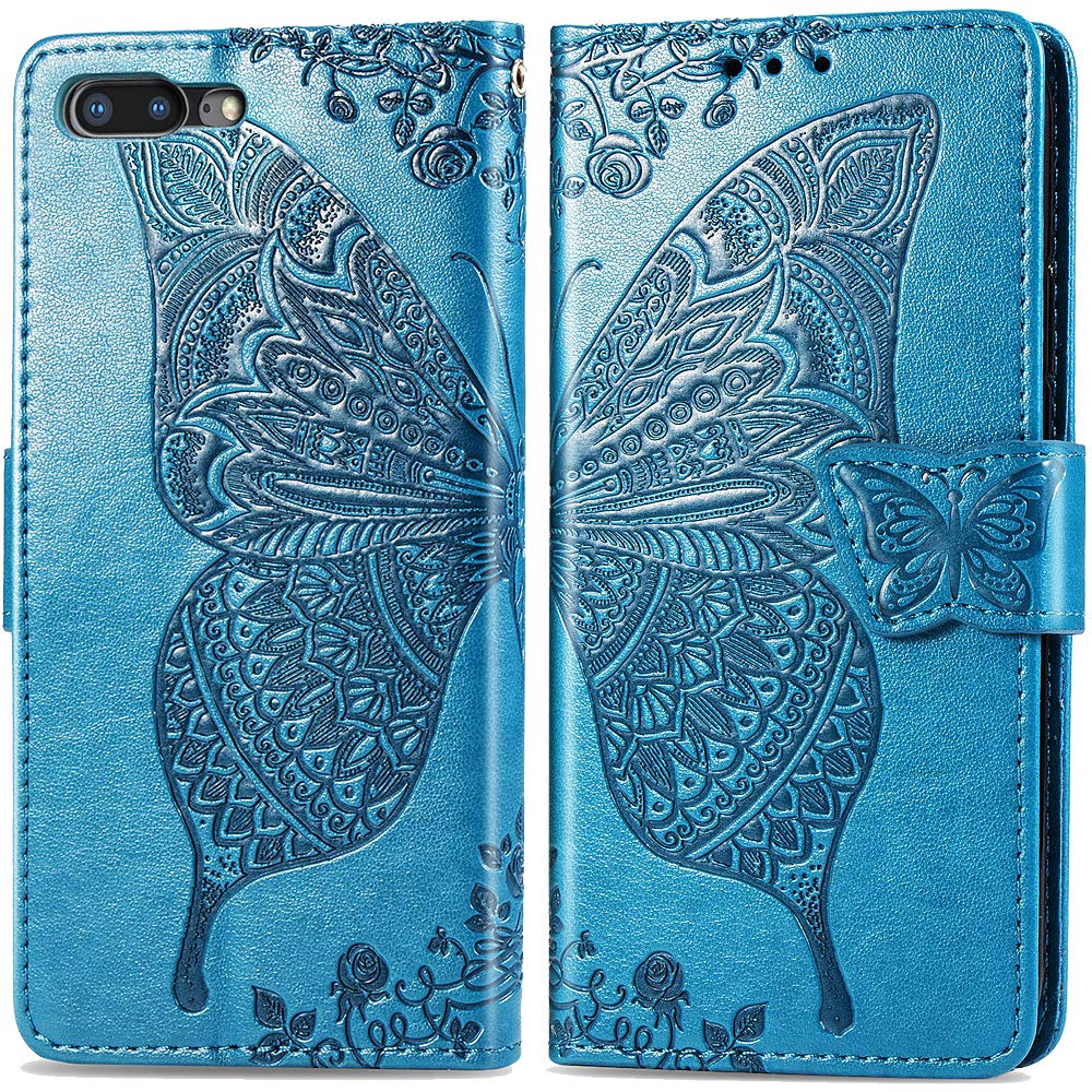 iPhone 8 Case Wallet,iPhone 7 Purse Case,Auker Card Holder Fold Kickstand Feature Butterfly Embossed Leather Flip Magnetic Slim Fit Full Body Wallet Case with Money Pocket for Women iphone7/8 (Blue)