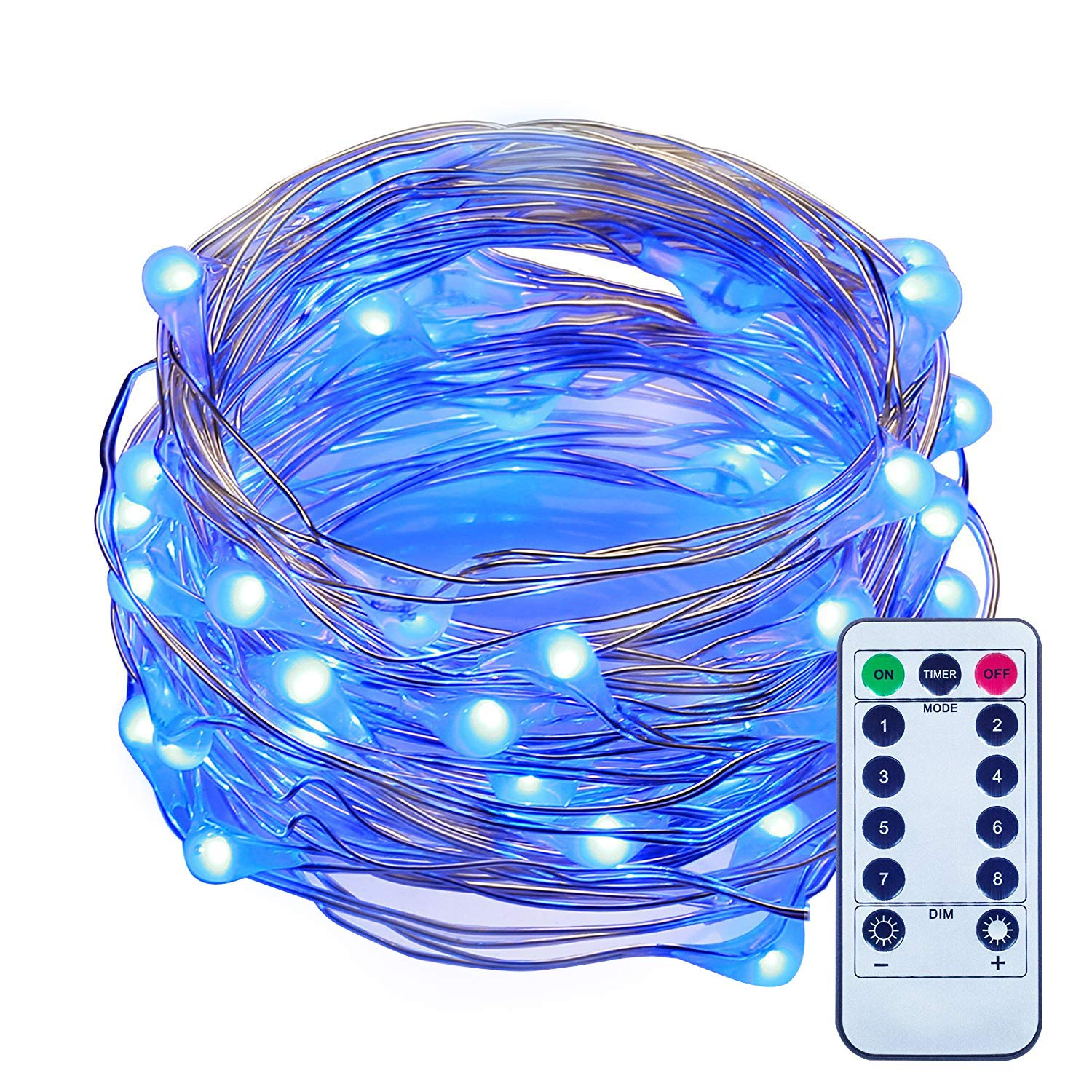ITART LED String Lights with Remote and Timer Dimmable Mini Fairy Lights Battery Operated Blue 50 LEDs 16.7ft Super Bright Ultra Thin Silver Wire for Christmas Trees Wedding Bedroom Garden Decoration