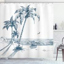 "Ambesonne Island Shower Curtain, Sketch Art of a Tropical Seaside with Palm Trees Fishing Boat Flying Birds, Cloth Fabric Bathroom Decor Set with Hooks, 84"" Long Extra, Petrol Blue"