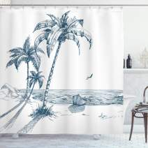 """Ambesonne Island Shower Curtain, Sketch Art of a Tropical Seaside with Palm Trees Fishing Boat Flying Birds, Cloth Fabric Bathroom Decor Set with Hooks, 84"""" Long Extra, Petrol Blue"""