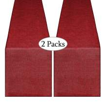 B-COOL 2 Pack Burplap Table Runners 14X108inches Burgundy Natural Jute Hessian Table Runner Perfect for Rustic Bridal Shower Party Events