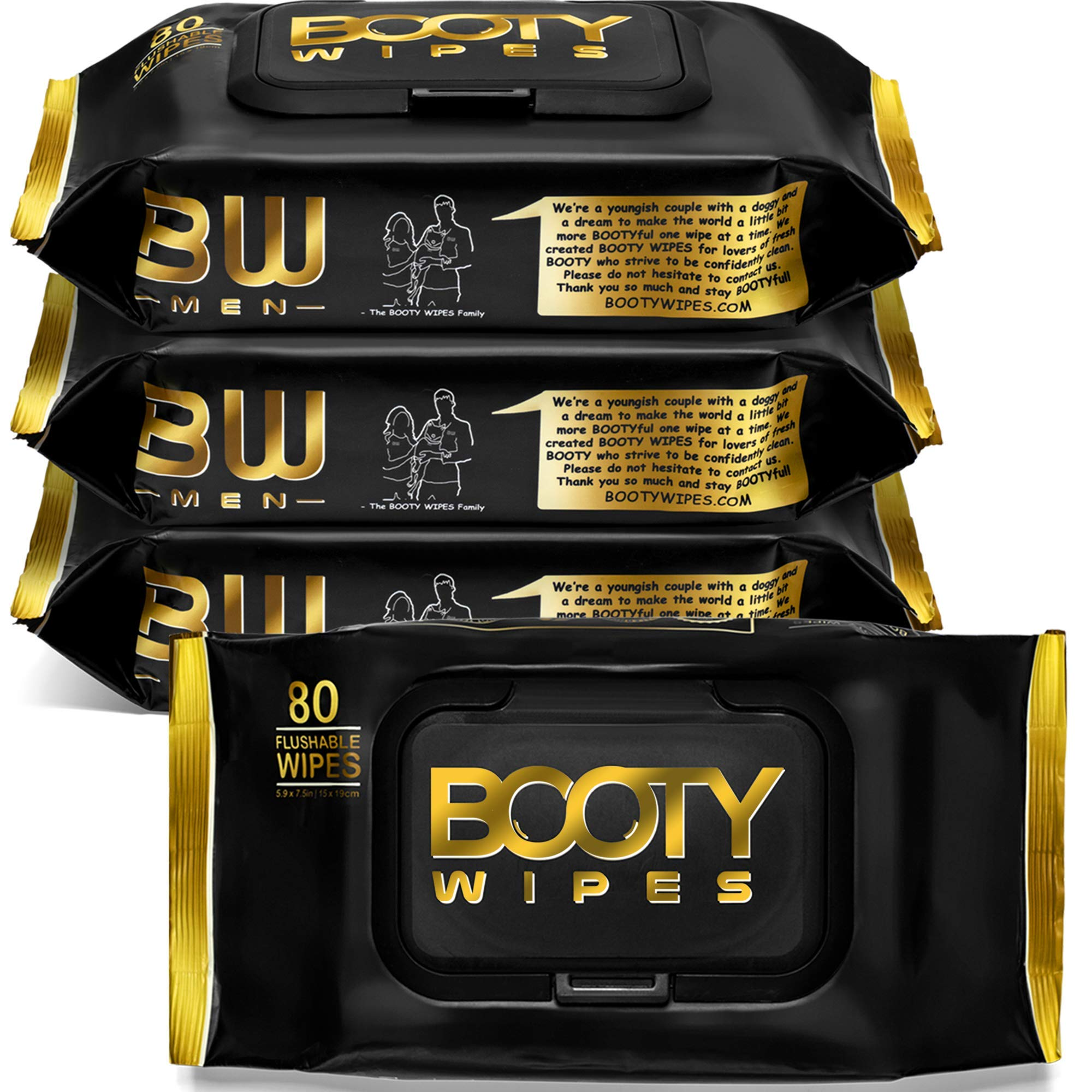 BOOTY WIPES for Men - 320 Flushable Wet Wipes for Adults, Man Wipes Infused with Vitamin-E & Aloe (320 Wipes Total - 4 Flip-Top Packs of 80) Biodegradable, Hypoallergenic