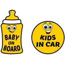 Fancy Mobility Baby on Board & Kids in Car Stickers – Reflective Vinyl Signs for Car, SUV, Truck, Vehicles – Window or Bumper Auto Accessories – Baby Shower Gift for Family Road Trip Essential