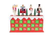 Clever Creations Tchaikovsky Nutcrackers Advent Calendar - Mouse King, Herr Drosselmeyer, Princess Clara and Red Prince - Traditional Wooden Christmas Decor - Solid Wood Construction