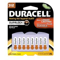 Duracell DA312B8ZM09 Easy Tab Hearing Aid Zinc Air Battery Pack, 312 Size, 1.4V, 175 mAh Capacity (Case of 6 Cards, 8 Unit per Card)