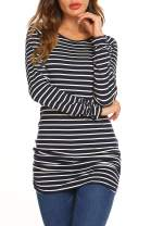 OURS Womens Basic Slim Fit Long Sleeve Striped T Shirt Dress Ruched Tunic Tops