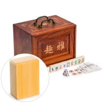 Yellow Mountain Imports Traditional American Mahjong Set, Sparrows with Bone and Bamboo Tiles, a 5-Drawer Rosewood Case, a Set of Betting Sticks, Dice, and Four Wind Tiles