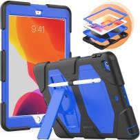 timecity Case for iPad 7th Generation, iPad 10.2 Case with Foldable Stand Stylus Holder, Three Layer Full Body Rugged Protection Shockproof Dropproof Tablet Case for iPad, Dark Blue