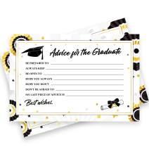 50 Pack Graduation Advice Cards 2020 Bulk – Graduation Decorations 2020 Black & Gold – Advice for the Graduate Graduation Party Supplies Favors Table Games Props