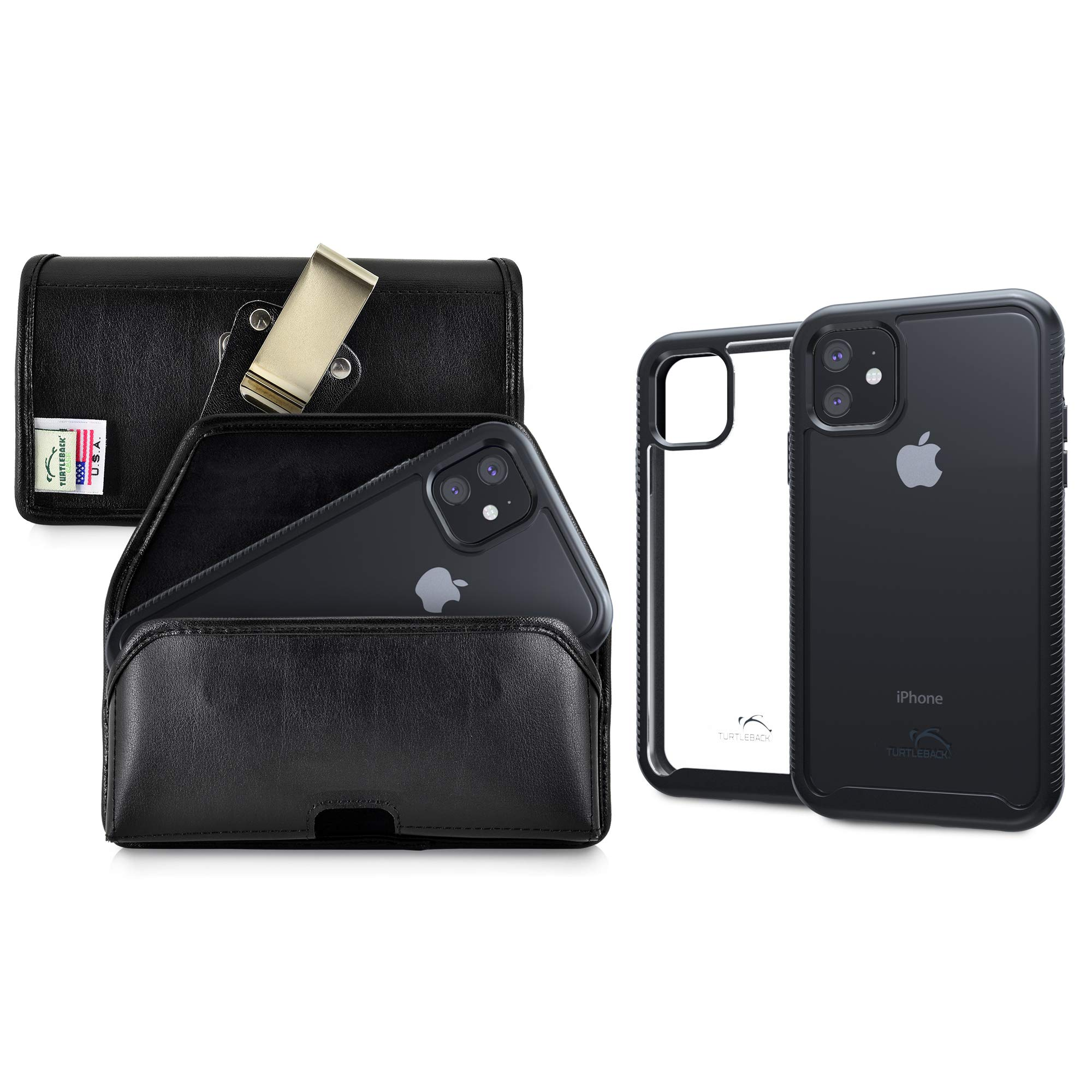 Turtleback Tough Defense Case/Pouch Combo Designed for New iPhone 11 (2019) 6.1 Inch, Military Grade Drop Tested Ultra Clear Back, Fitted in Leather Holster, Rotating Clip-Horizontal/Black