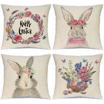 Hlonon Easter Pillow Covers 18x18 Set of 4 Easter Pillow Case Rabbit Bunnies with Eggs Canvas, Cotton Linen Throw Pillow Covers Zippered Square