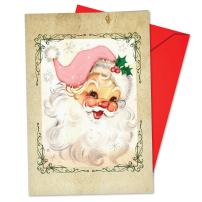 12 'Pink Kringle' Christmas Cards with Envelopes 4.63 x 6.75 inch, Vintage-Inspired Santa in Pink Suit Holiday Notes, Cute, Festive, Girly Seasons Greetings Cards, Retro Santa Cards B6695CXSG