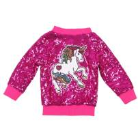 ANATA Girl Unicorn Sequin Jacket Kids Casual Bomber Jacket Zipper Coat Outwear