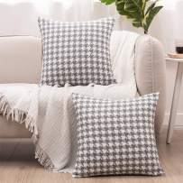 """Basic Model Houndstooth Throw Pillow Covers Decorative Square Pillow Case Jacquard Cushion Cover for Living Room 18""""x 18"""", Set of 2"""