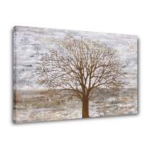 Yihui Arts Abstract Pictures Landscape Wall Art: Gray Tree Painting Artwork on Canvas for Bedroom(Gloden, 28Wx40L)