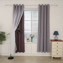 """Hello Laura - Window Curtain 2 Layer Triple Weave Thermal Insulated Blackout Grommet Window Curtain 53"""" x 95"""" Home Decor Luxury Royal Room Sunshine Block 