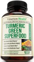 Turmeric Green Superfood Organic Supplement with Spirulina, Wheatgrass, Barley Grass and Bioperine. Boosts Immune and Digestive System. Raw Greens, Antioxidant Properties for Detox and Joint Support