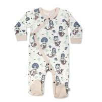 Finn + Emma Organic Cotton Baby Footie Pajama - Mermaids, 3-6 Months