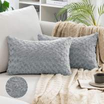 MIULEE Pack of 2 Decorative Throw Pillow Covers Luxury Faux Fuzzy Fur Super Soft Cushion Pillow Case Decor Grey Cases for Couch Sofa Bedroom Car 12 x 20 Inch 30 x 50 cm