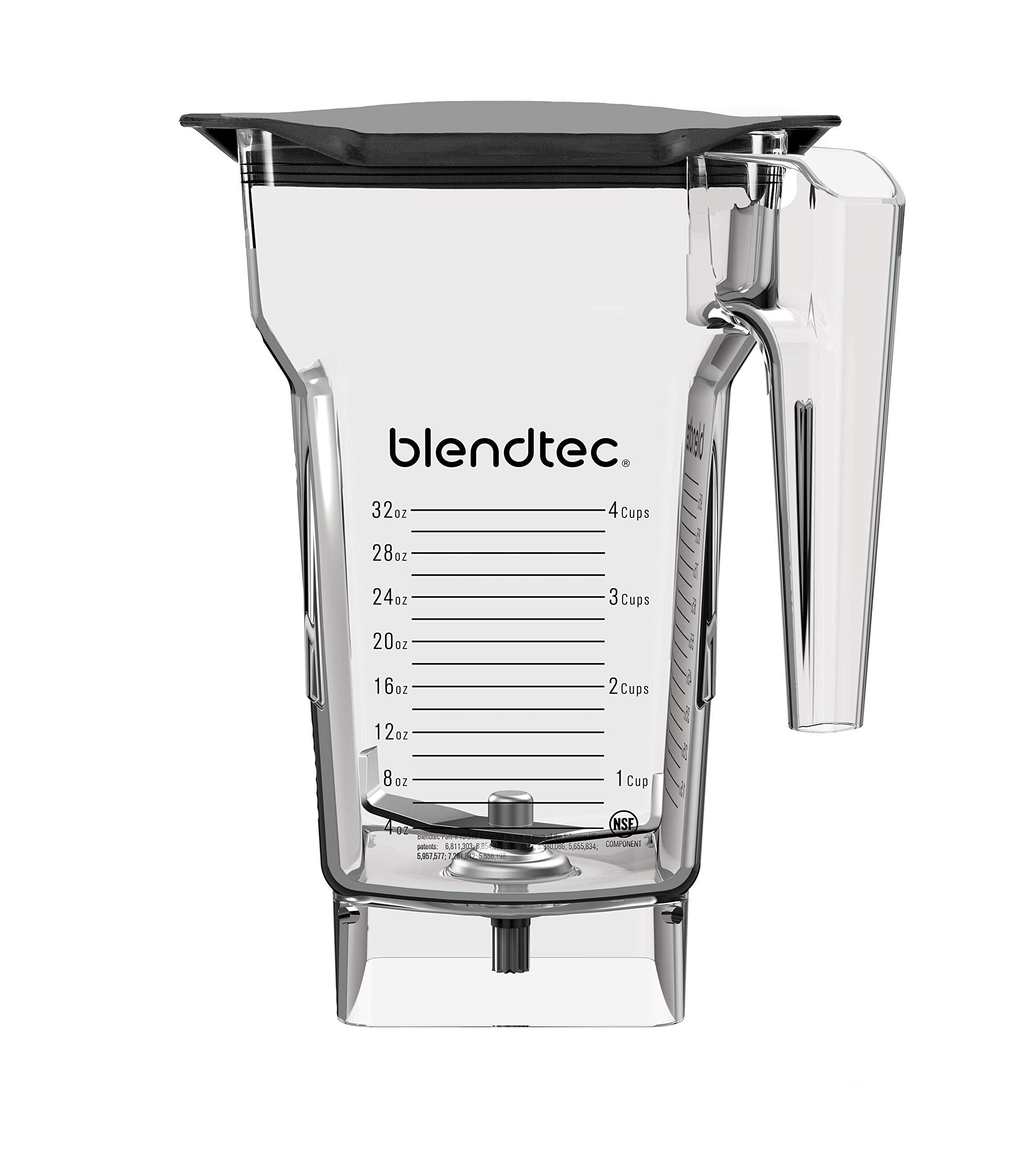 Blendtec FourSide Jar (75 oz), Four Sided, Professional-Grade Blender Jar, Black Soft Lid, BPA Free, Clear