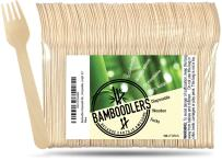 """Disposable Wooden Forks by Bamboodlers   100% All-Natural, Eco-Friendly, Biodegradable, and Compostable - Because Earth is Awesome! Pack of 100-6.5"""" Forks."""