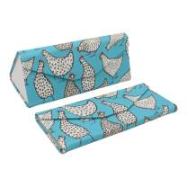 REAL SIC Adorable Animal Glasses Case - Magnetic Folding Leather Feel Hard Case for All Glasses (Chickens)