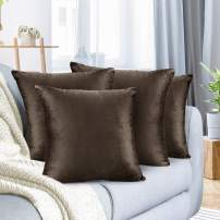 """Nestl Bedding Throw Pillow Cover 20"""" x 20"""" Soft Square Decorative Throw Pillow Covers Cozy Velvet Cushion Case for Sofa Couch Bedroom, Set of 4, Chocolate Brown"""
