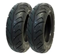 MMG Set of 2: Tire 120/90-10 (P116) Tubeless Front/Rear Motorcycle Scooter Moped Street Tire