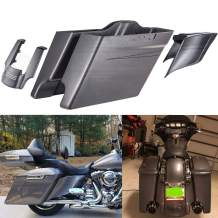 Advanblack Charcoal Pearl 4.5 inch Extended Stretched Saddlebags Side Covers Black Outer Pinstripe Rear Fender Extension Stretched Saddlebags Fit for Harley Touring Street Glide Road Glide 2014-2020