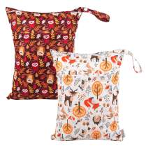 ALVABABY 2pcs Cloth Diaper Wet Dry Bags Reusable Travel Bag Mommy Bag L-YX1324