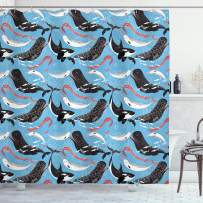 """Ambesonne Narwhal Shower Curtain, Arctic Giant Sea Mammals Orca White Whale Narwhal Sketch Ocean Fauna, Cloth Fabric Bathroom Decor Set with Hooks, 70"""" Long, Dark Coral"""